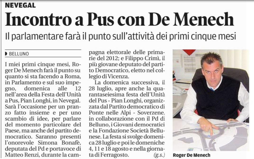 Corriere Alpi 19.07.2013 - FESTA 21.07.2013