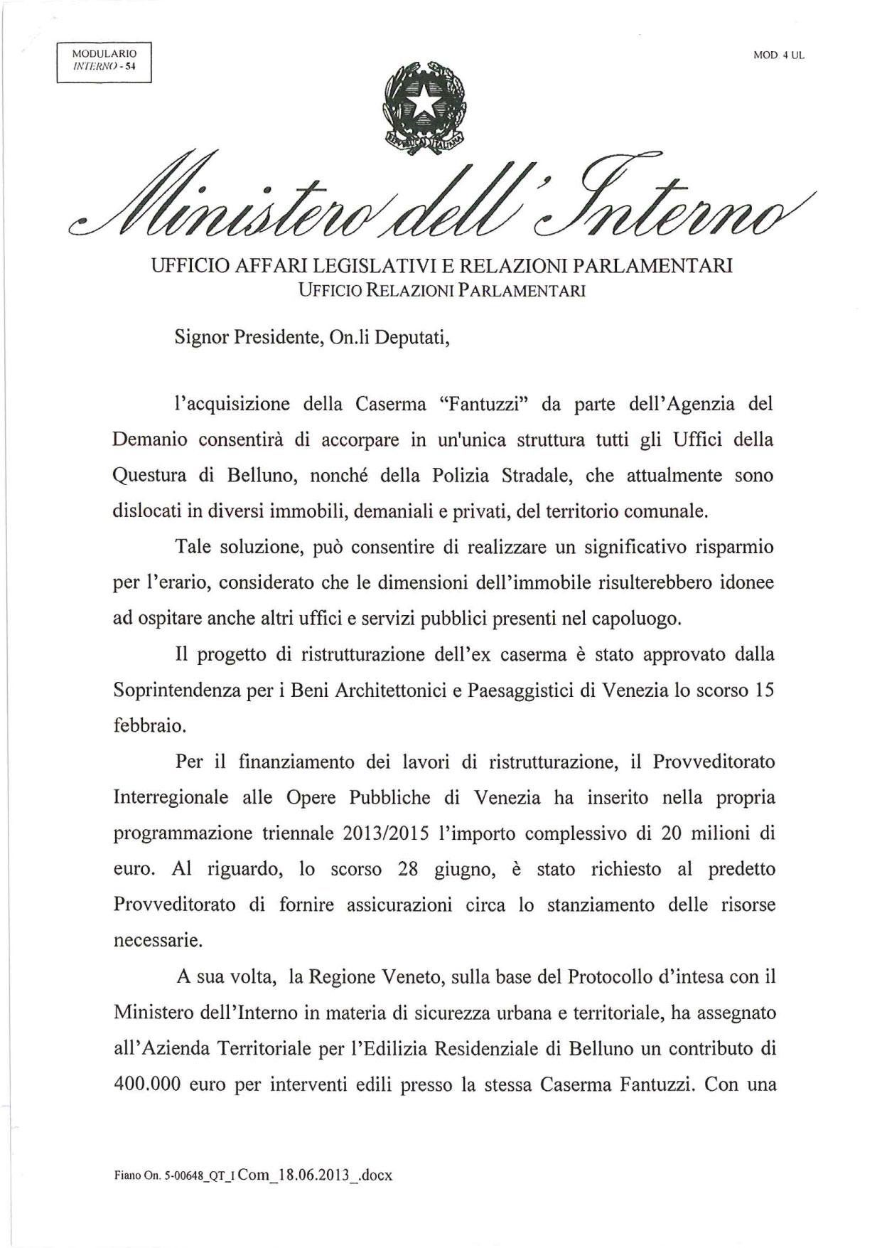 Risposta-MINISTERO-DELL'INTERNO-_-Caserma-Fantuzzi-1