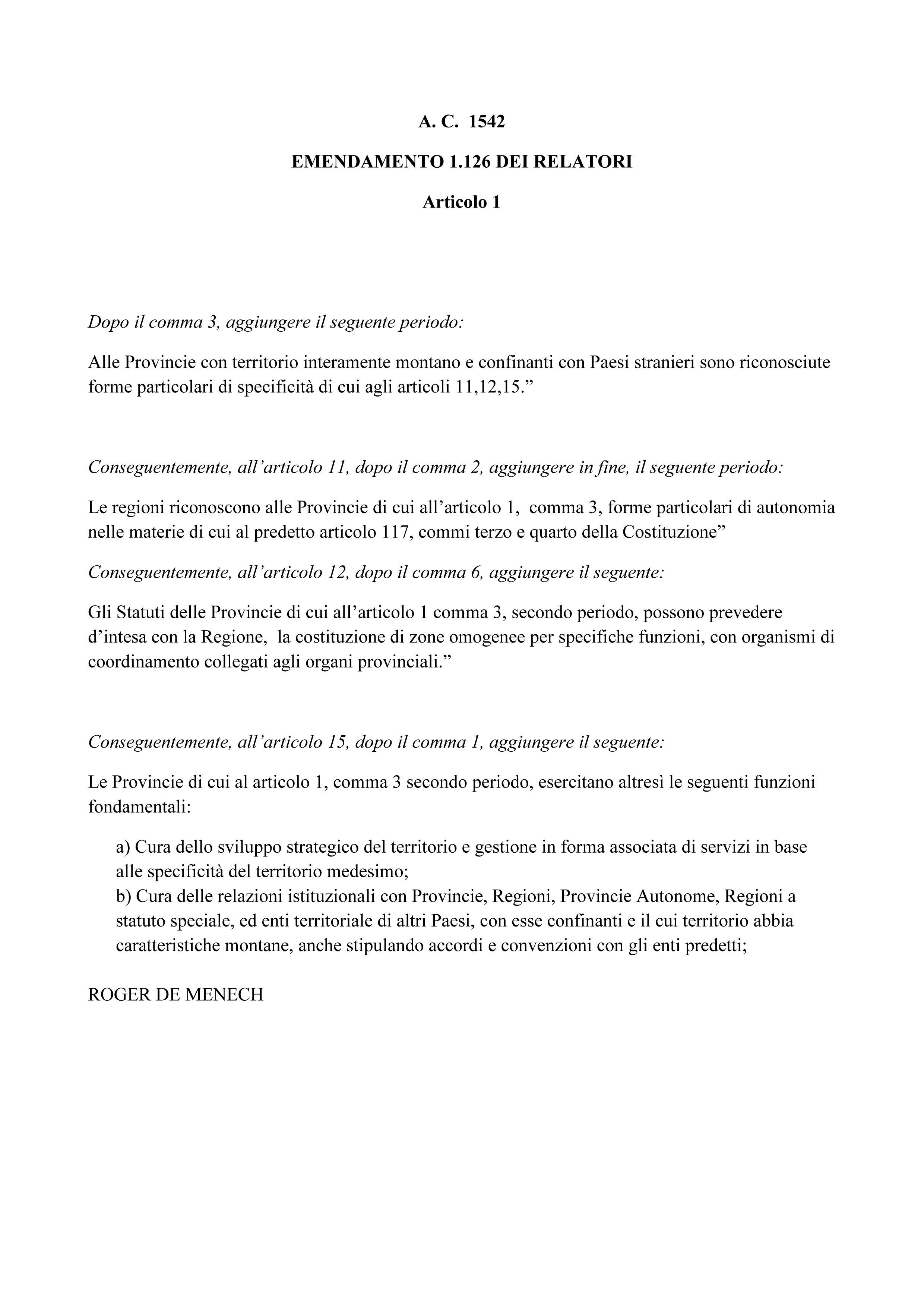 Emendamento-APPROVATO in Commissione: provincie montane