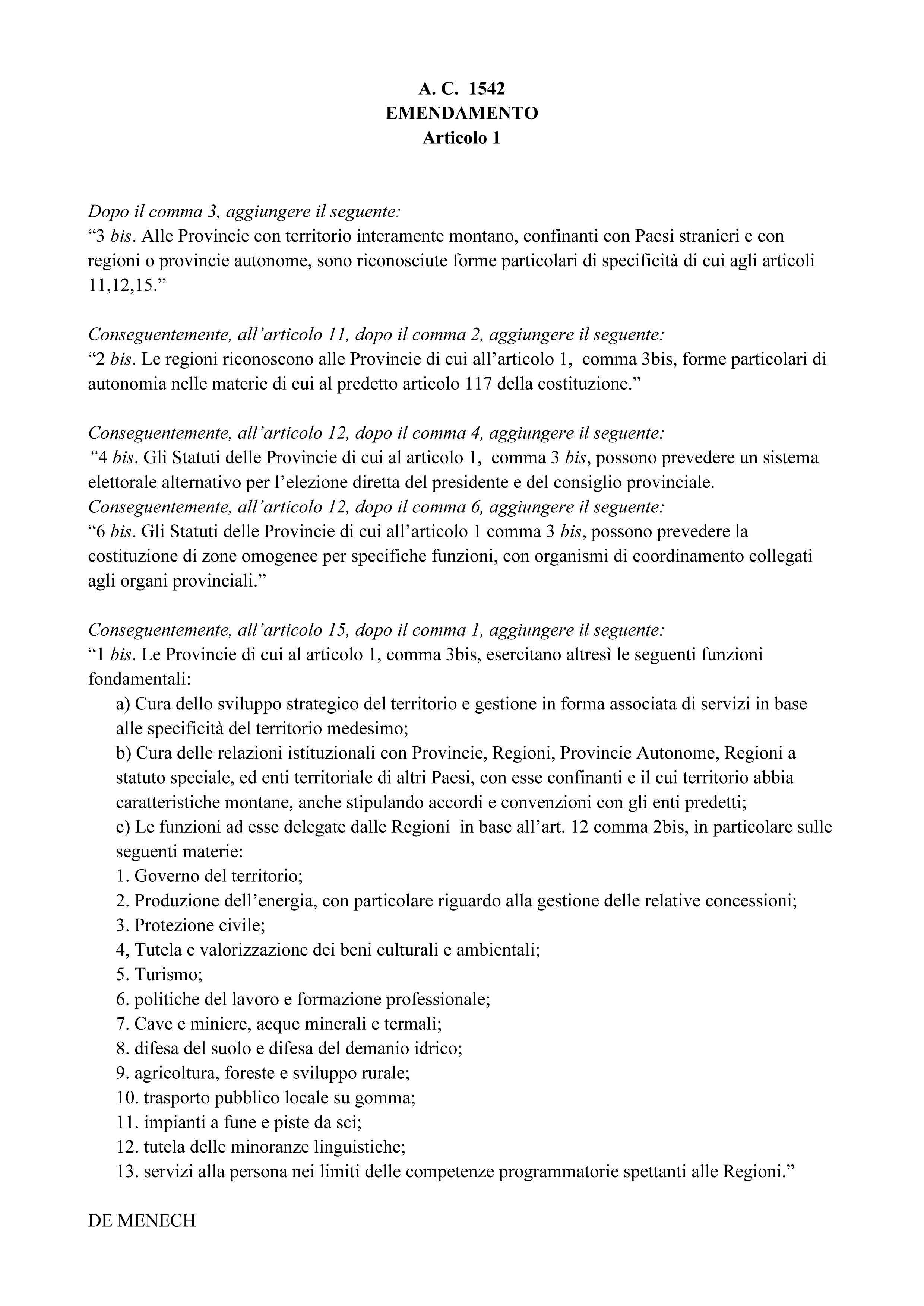 Emendamento Presentato da DE MENECH