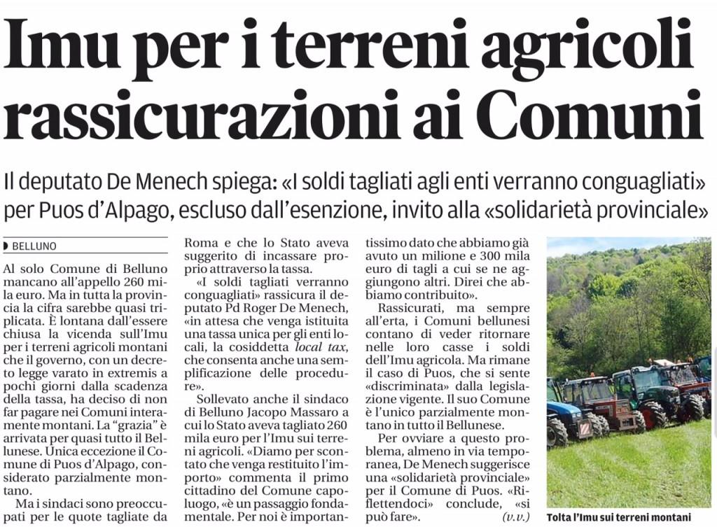 IMU PER TERRENI AGRICOLI _ Corriere delle Alpi 25.1.2015